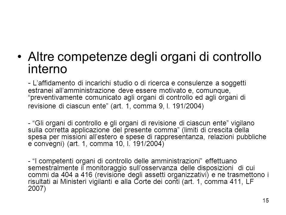 Altre competenze degli organi di controllo interno