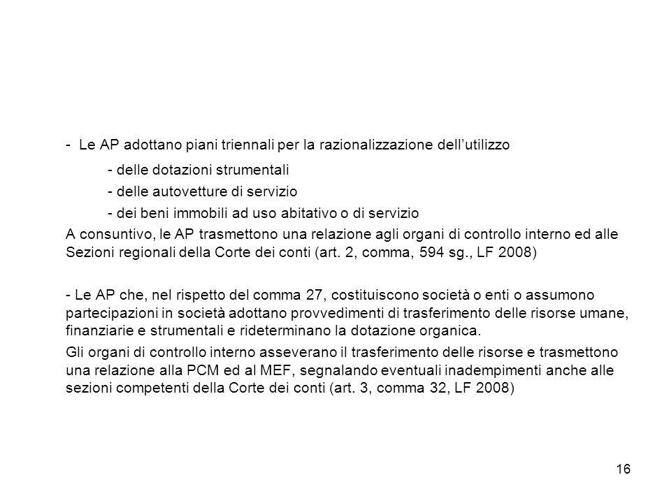 - Le AP adottano piani triennali per la razionalizzazione dell'utilizzo