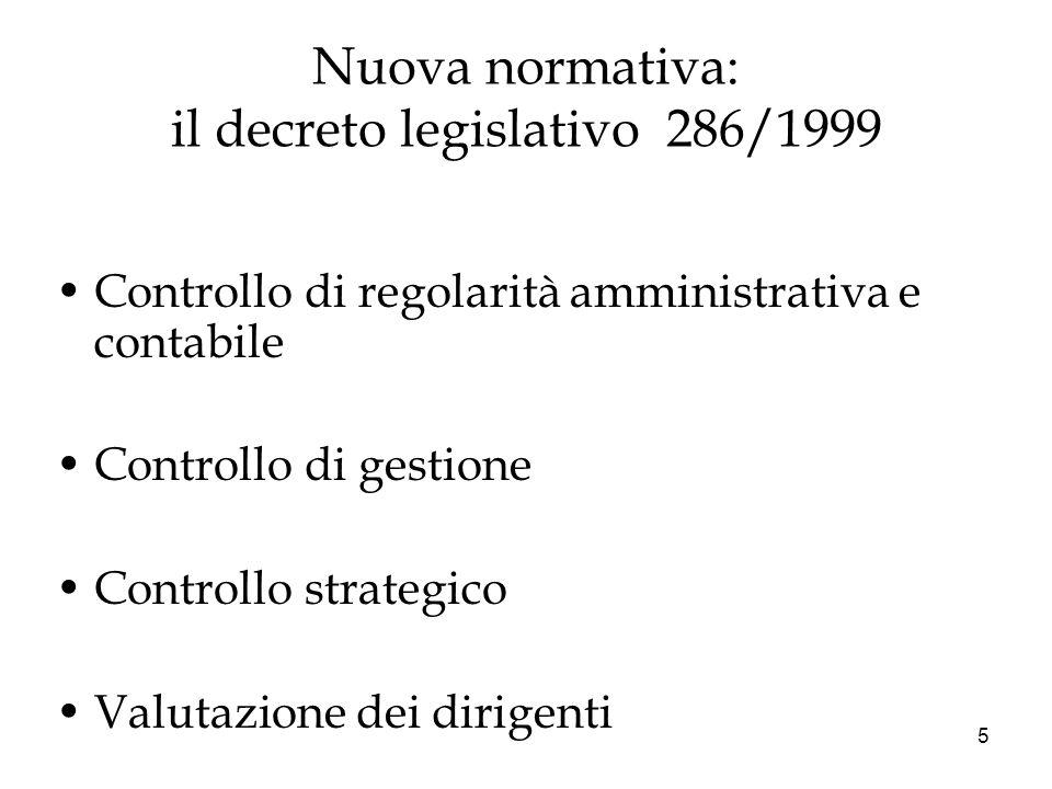 Nuova normativa: il decreto legislativo 286/1999