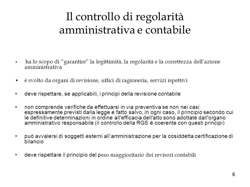 Il controllo di regolarità amministrativa e contabile