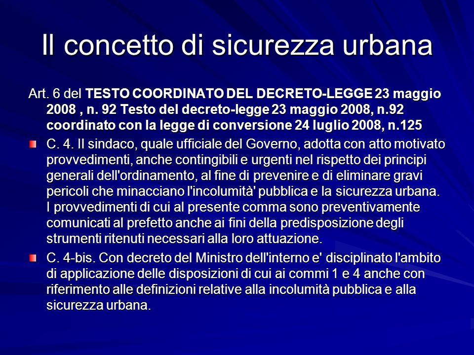 Il concetto di sicurezza urbana