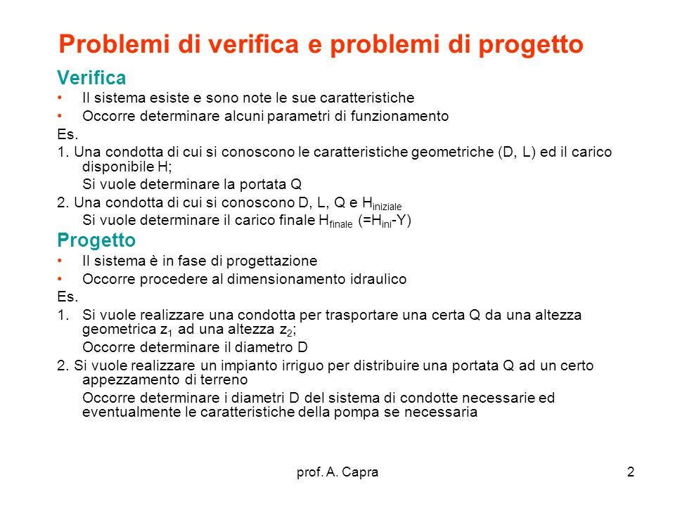 Problemi di verifica e problemi di progetto