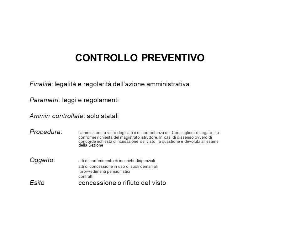 CONTROLLO PREVENTIVO Finalità: legalità e regolarità dell'azione amministrativa. Parametri: leggi e regolamenti.