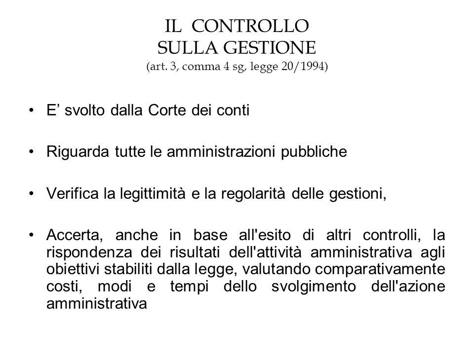 IL CONTROLLO SULLA GESTIONE (art. 3, comma 4 sg, legge 20/1994)