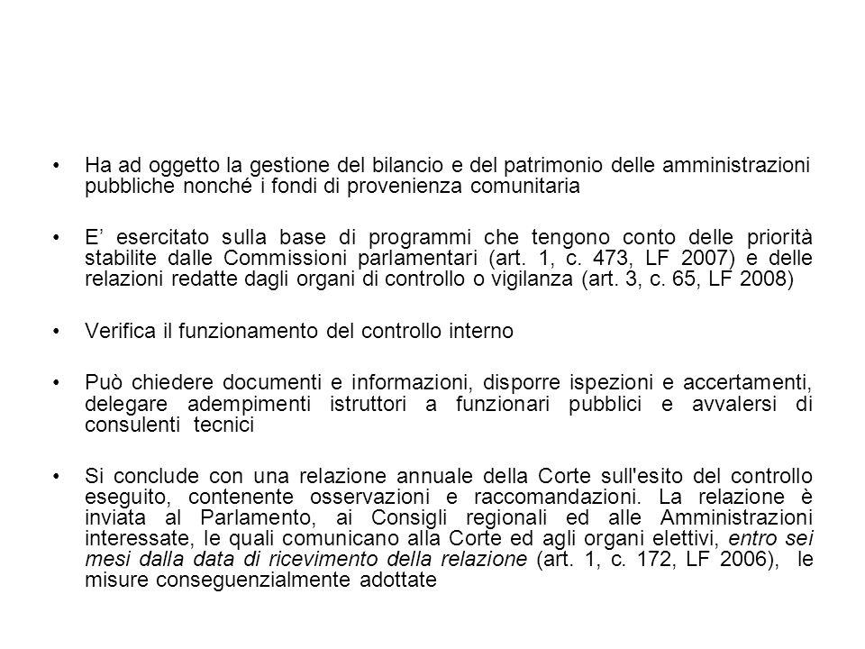 Ha ad oggetto la gestione del bilancio e del patrimonio delle amministrazioni pubbliche nonché i fondi di provenienza comunitaria