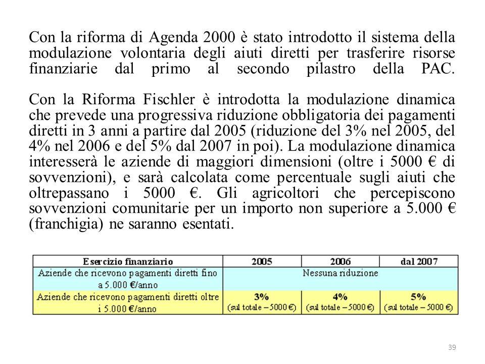 Con la riforma di Agenda 2000 è stato introdotto il sistema della modulazione volontaria degli aiuti diretti per trasferire risorse finanziarie dal primo al secondo pilastro della PAC.