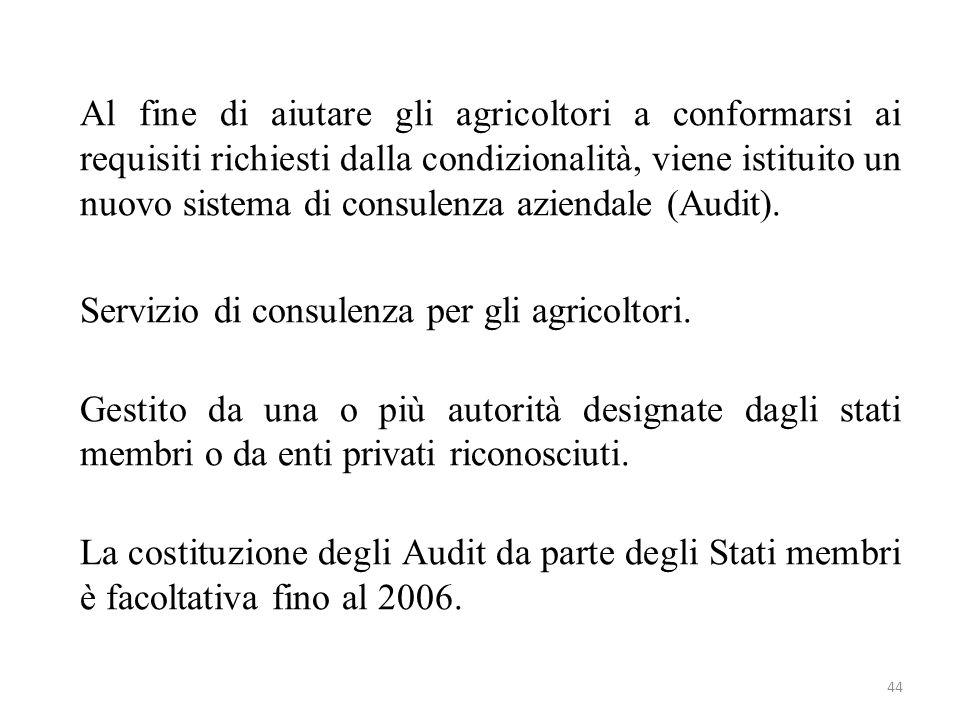 Al fine di aiutare gli agricoltori a conformarsi ai requisiti richiesti dalla condizionalità, viene istituito un nuovo sistema di consulenza aziendale (Audit).