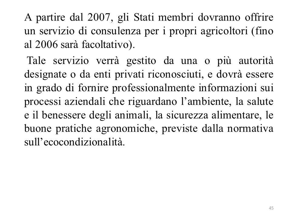 A partire dal 2007, gli Stati membri dovranno offrire un servizio di consulenza per i propri agricoltori (fino al 2006 sarà facoltativo).