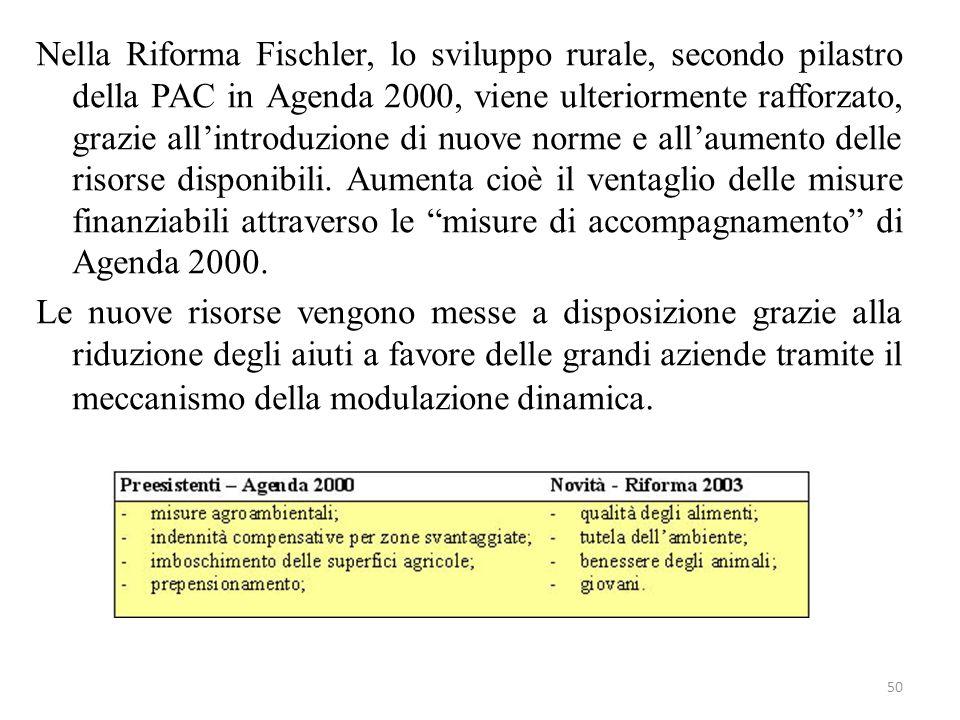 Nella Riforma Fischler, lo sviluppo rurale, secondo pilastro della PAC in Agenda 2000, viene ulteriormente rafforzato, grazie all'introduzione di nuove norme e all'aumento delle risorse disponibili.