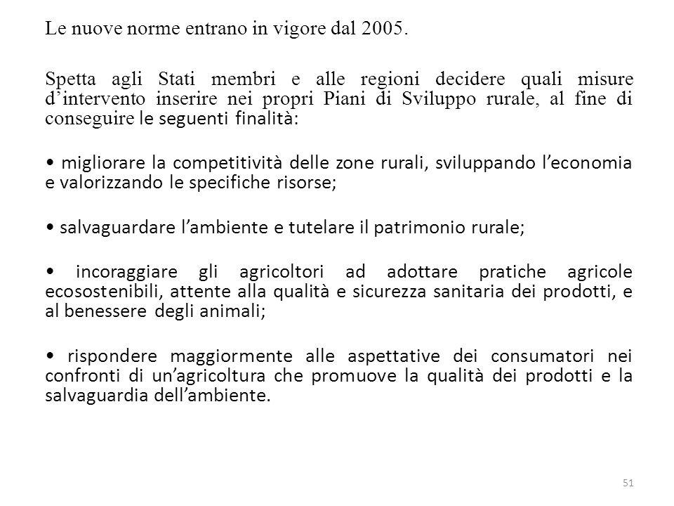 Le nuove norme entrano in vigore dal 2005.
