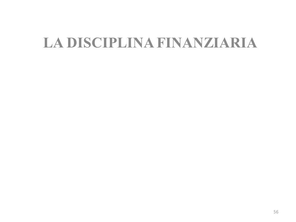 LA DISCIPLINA FINANZIARIA
