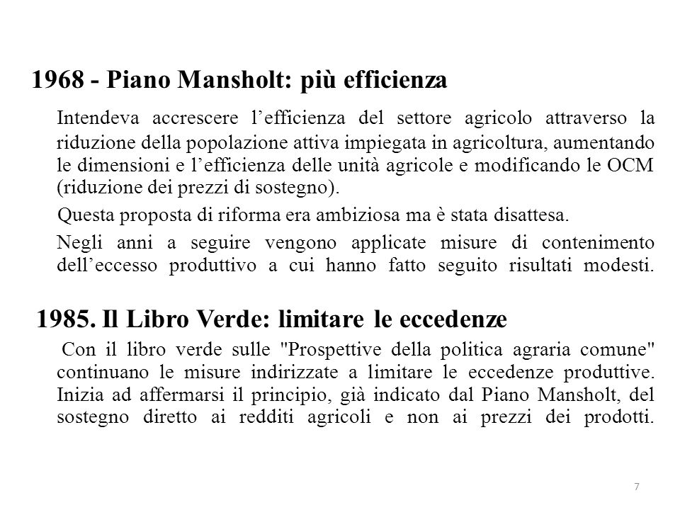 Piano Mansholt: più efficienza