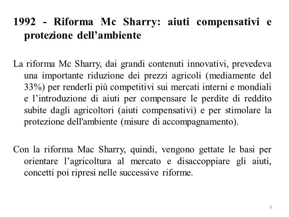 1992 - Riforma Mc Sharry: aiuti compensativi e protezione dell'ambiente