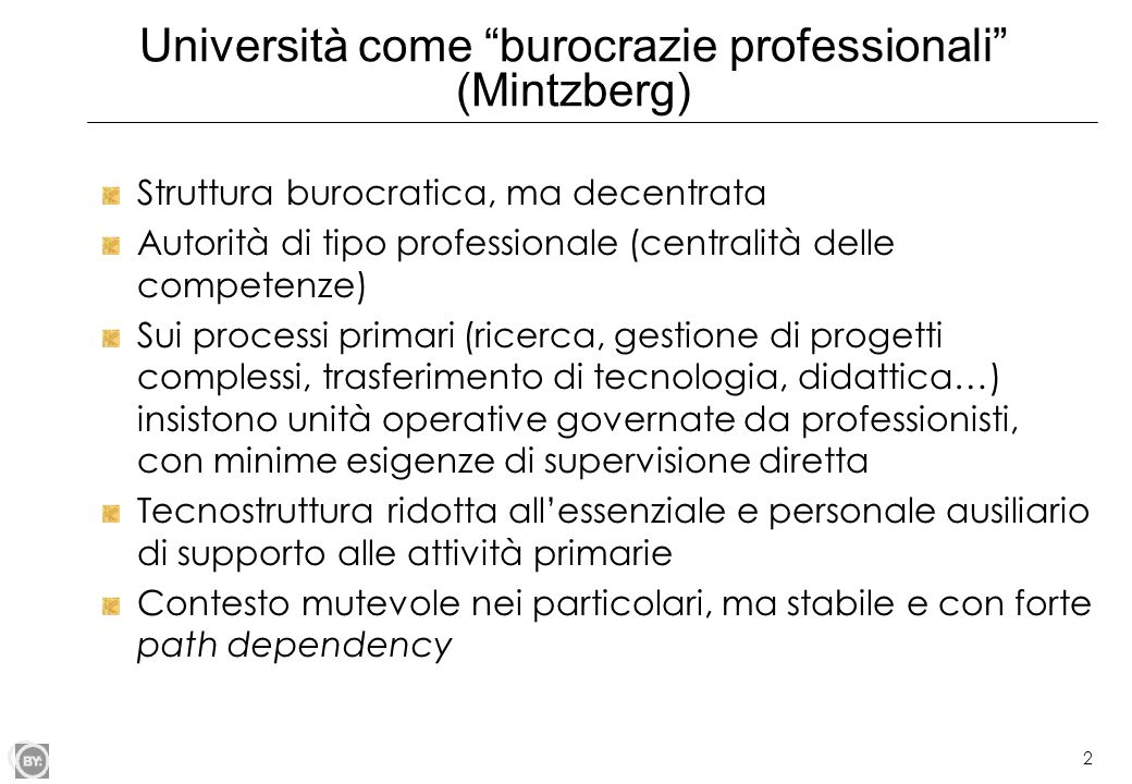 Università come burocrazie professionali (Mintzberg)