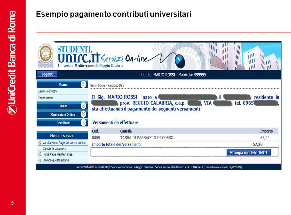 Esempio pagamento contributi universitari