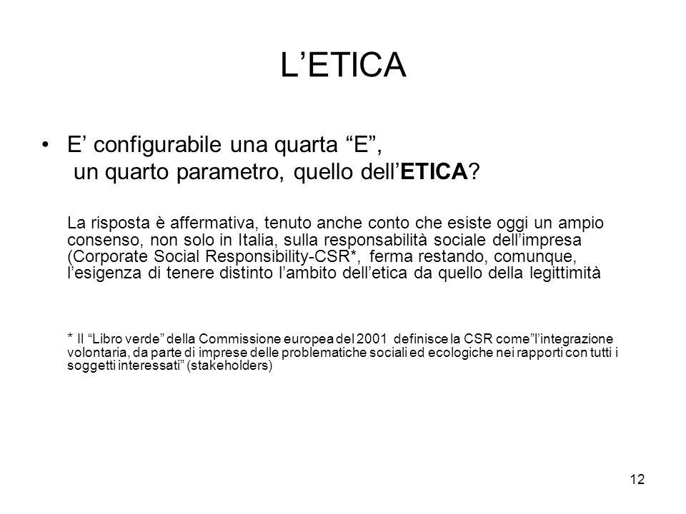 L'ETICA E' configurabile una quarta E ,