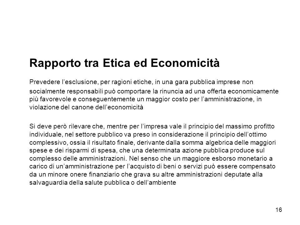 Rapporto tra Etica ed Economicità
