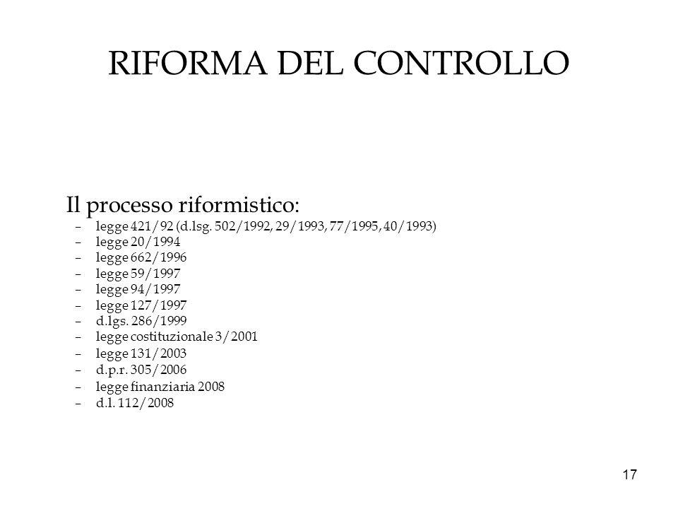 RIFORMA DEL CONTROLLO Il processo riformistico: