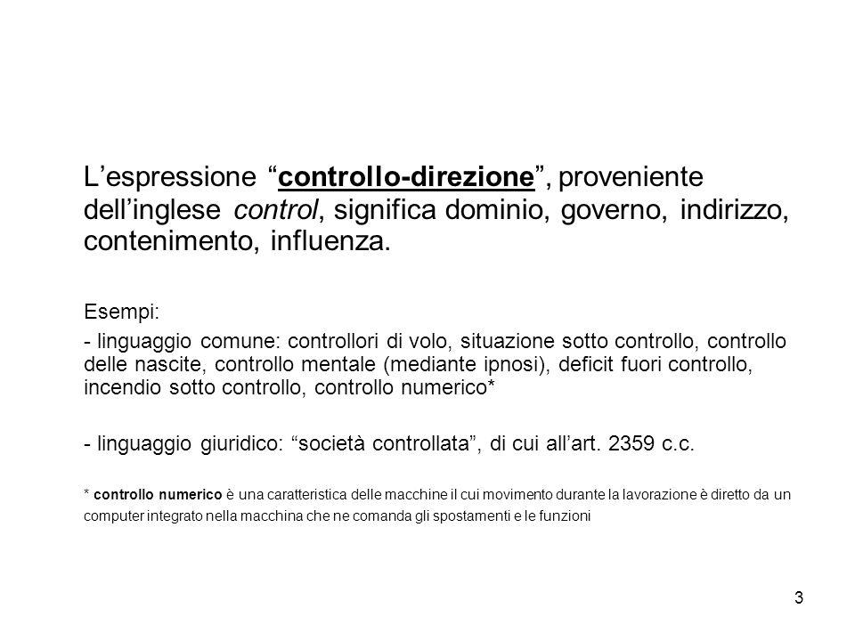L'espressione controllo-direzione , proveniente dell'inglese control, significa dominio, governo, indirizzo, contenimento, influenza.