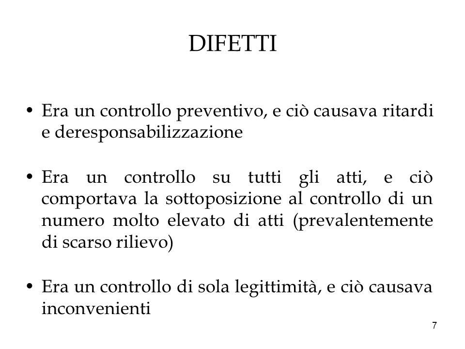 DIFETTI Era un controllo preventivo, e ciò causava ritardi e deresponsabilizzazione.