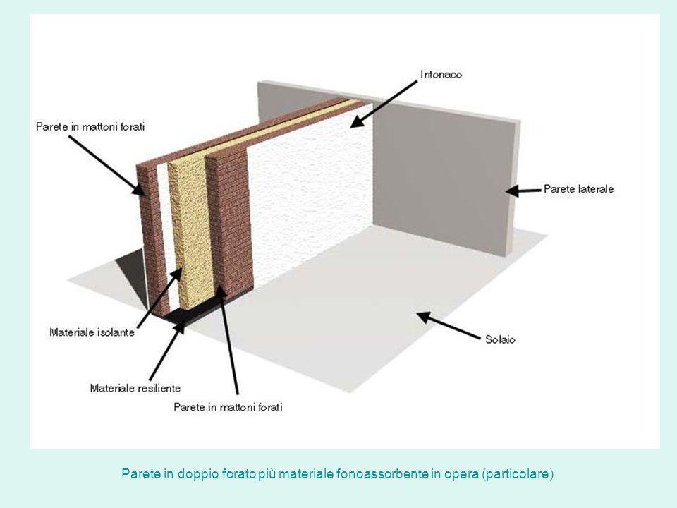 Parete in doppio forato più materiale fonoassorbente in opera (particolare)