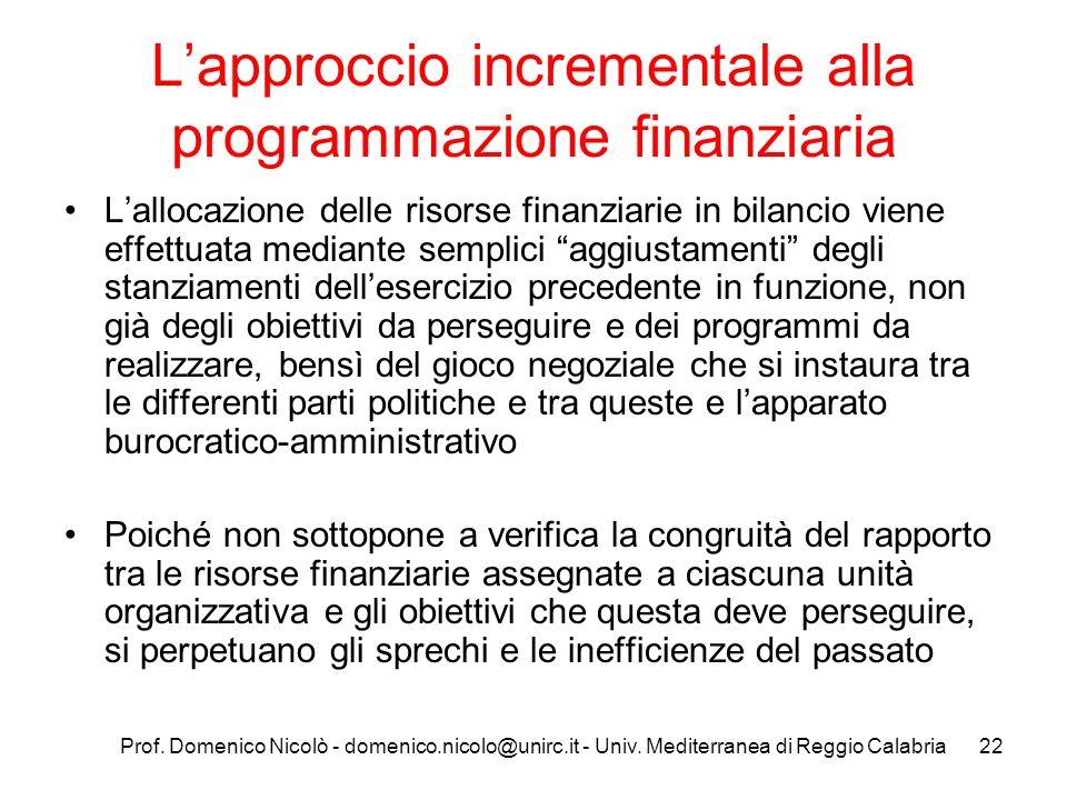 L'approccio incrementale alla programmazione finanziaria