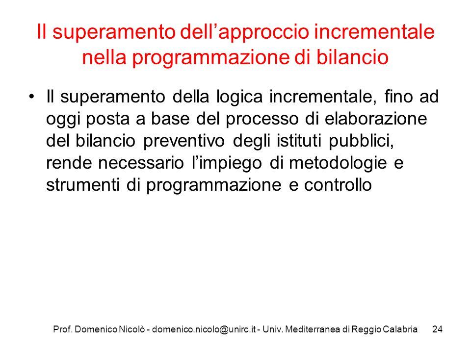 Il superamento dell'approccio incrementale nella programmazione di bilancio