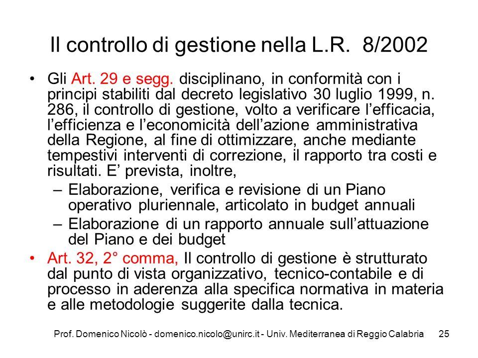 Il controllo di gestione nella L.R. 8/2002