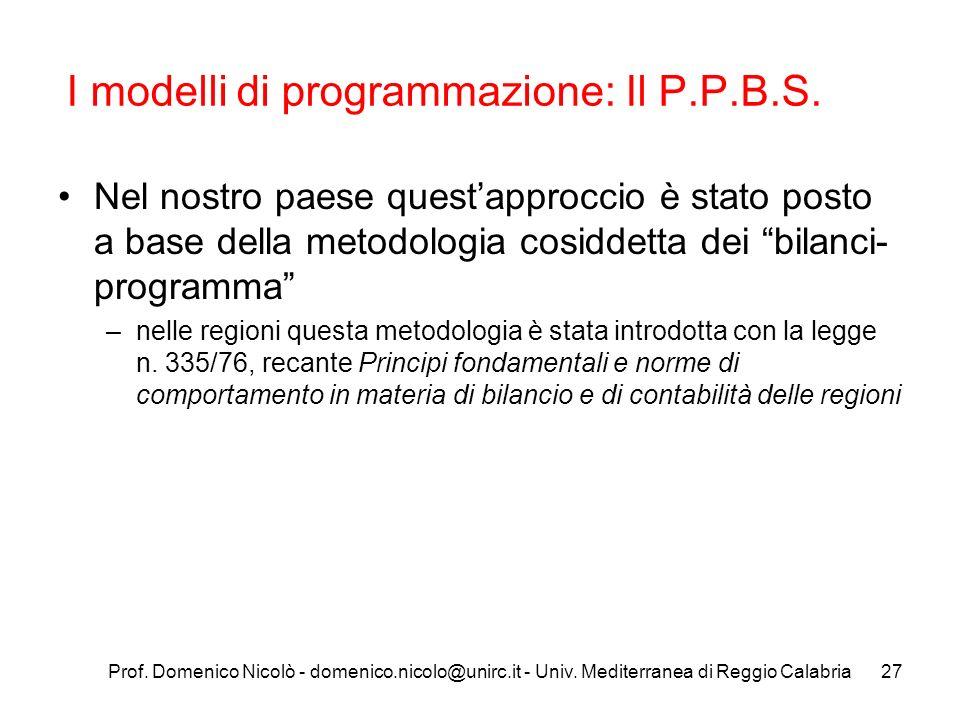I modelli di programmazione: Il P.P.B.S.