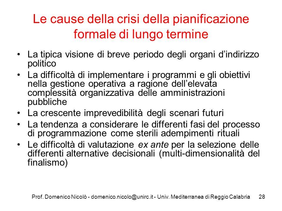 Le cause della crisi della pianificazione formale di lungo termine