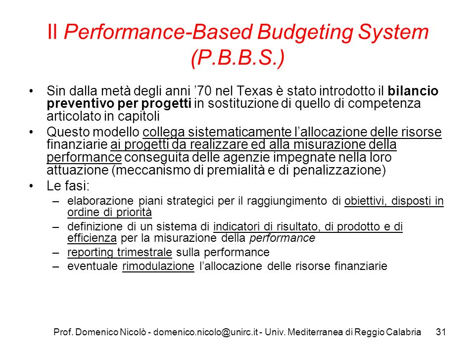 Il Performance-Based Budgeting System (P.B.B.S.)