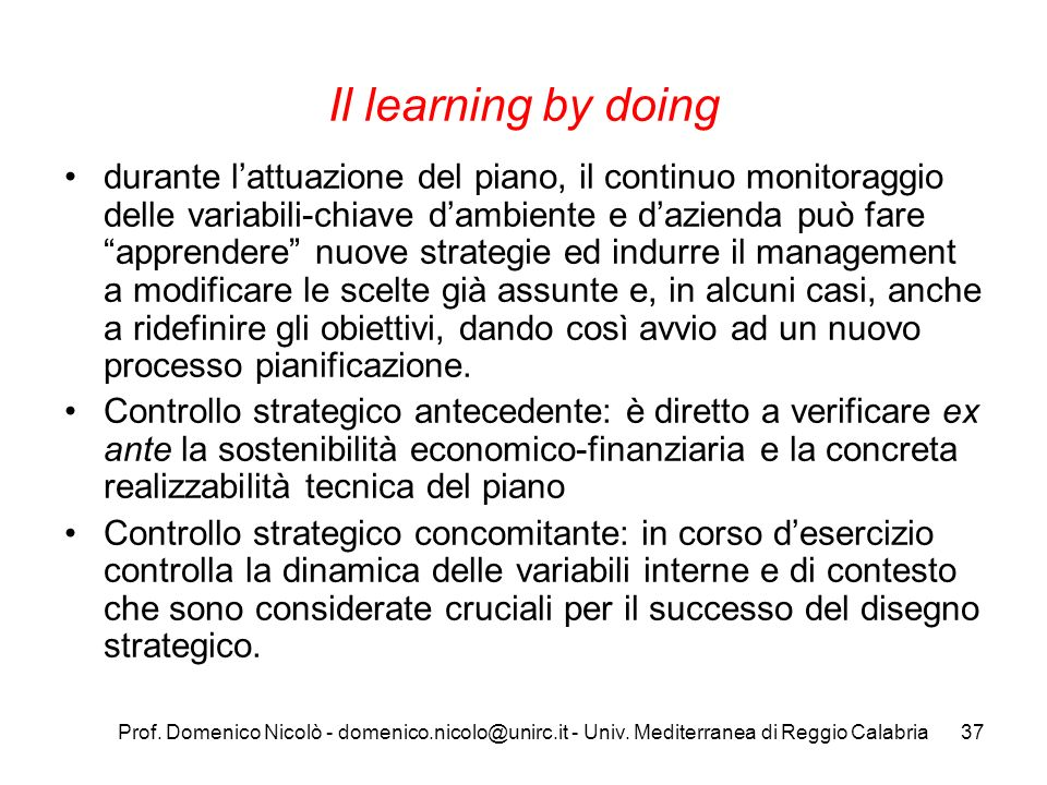 Il learning by doing
