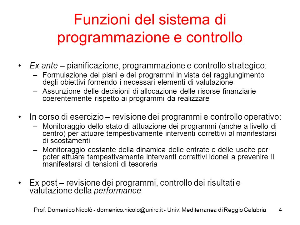 Funzioni del sistema di programmazione e controllo