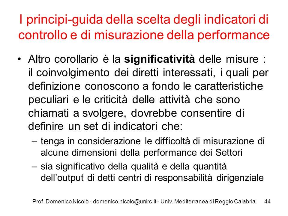 I principi-guida della scelta degli indicatori di controllo e di misurazione della performance