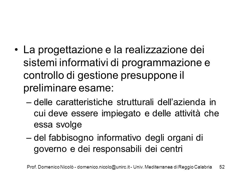 La progettazione e la realizzazione dei sistemi informativi di programmazione e controllo di gestione presuppone il preliminare esame: