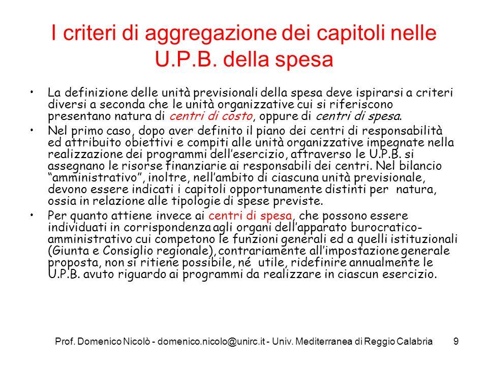 I criteri di aggregazione dei capitoli nelle U.P.B. della spesa