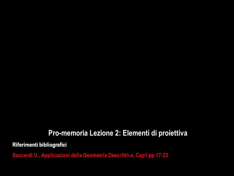 Pro-memoria Lezione 2: Elementi di proiettiva