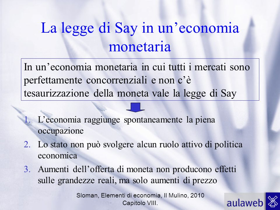 La legge di Say in un'economia monetaria