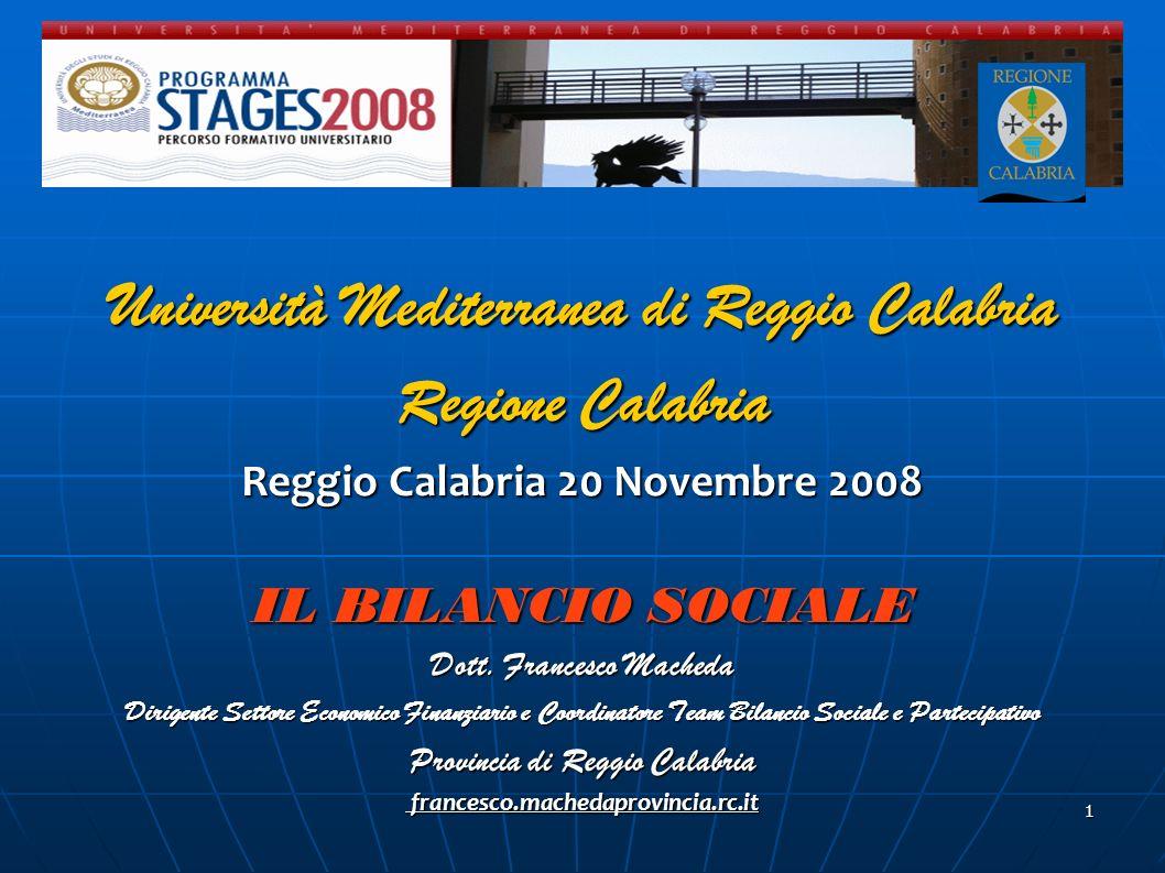 Università Mediterranea di Reggio Calabria Regione Calabria