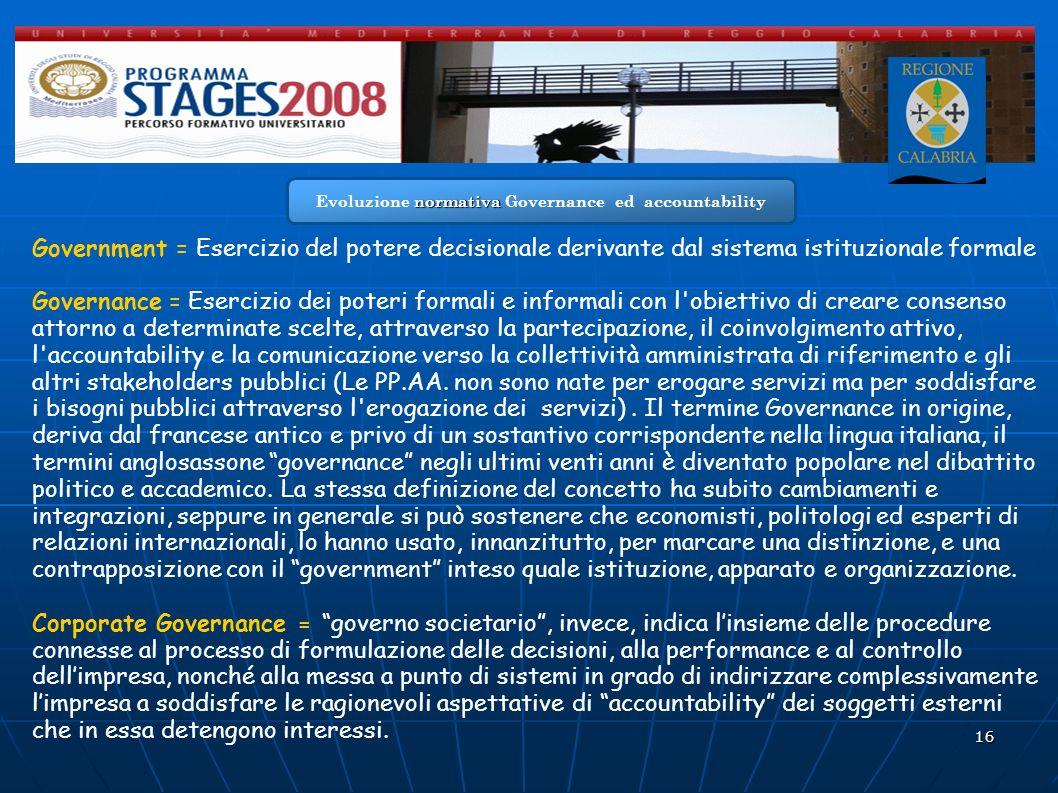 Evoluzione normativa Governance ed accountability