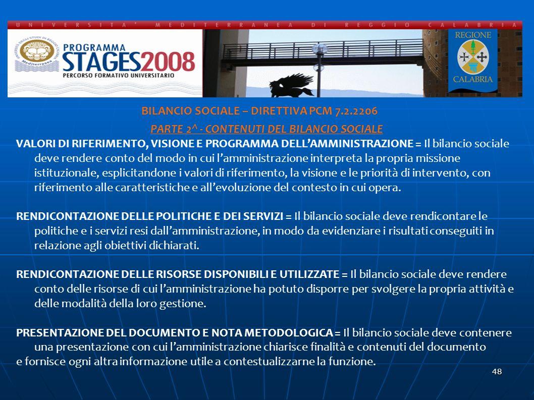 d BILANCIO SOCIALE – DIRETTIVA PCM 7.2.2206