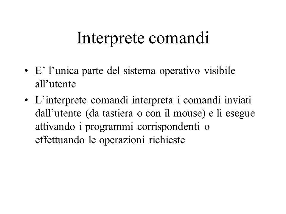 Interprete comandi E' l'unica parte del sistema operativo visibile all'utente.