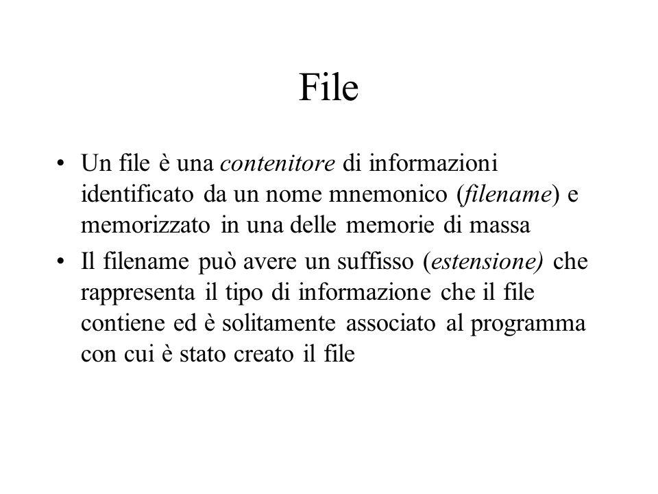 File Un file è una contenitore di informazioni identificato da un nome mnemonico (filename) e memorizzato in una delle memorie di massa.