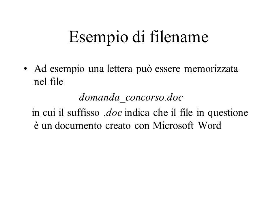 Esempio di filename Ad esempio una lettera può essere memorizzata nel file. domanda_concorso.doc.