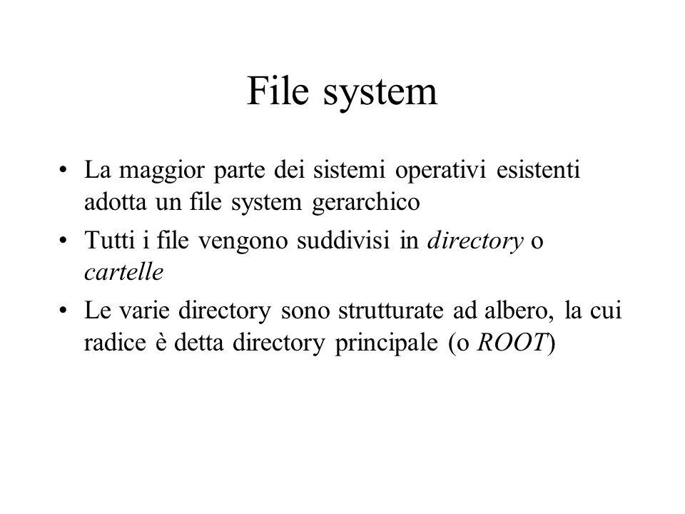 File system La maggior parte dei sistemi operativi esistenti adotta un file system gerarchico.