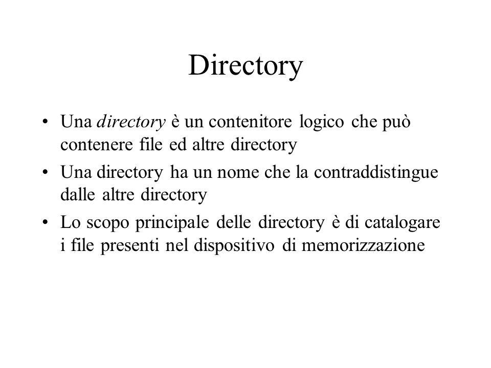 Directory Una directory è un contenitore logico che può contenere file ed altre directory.