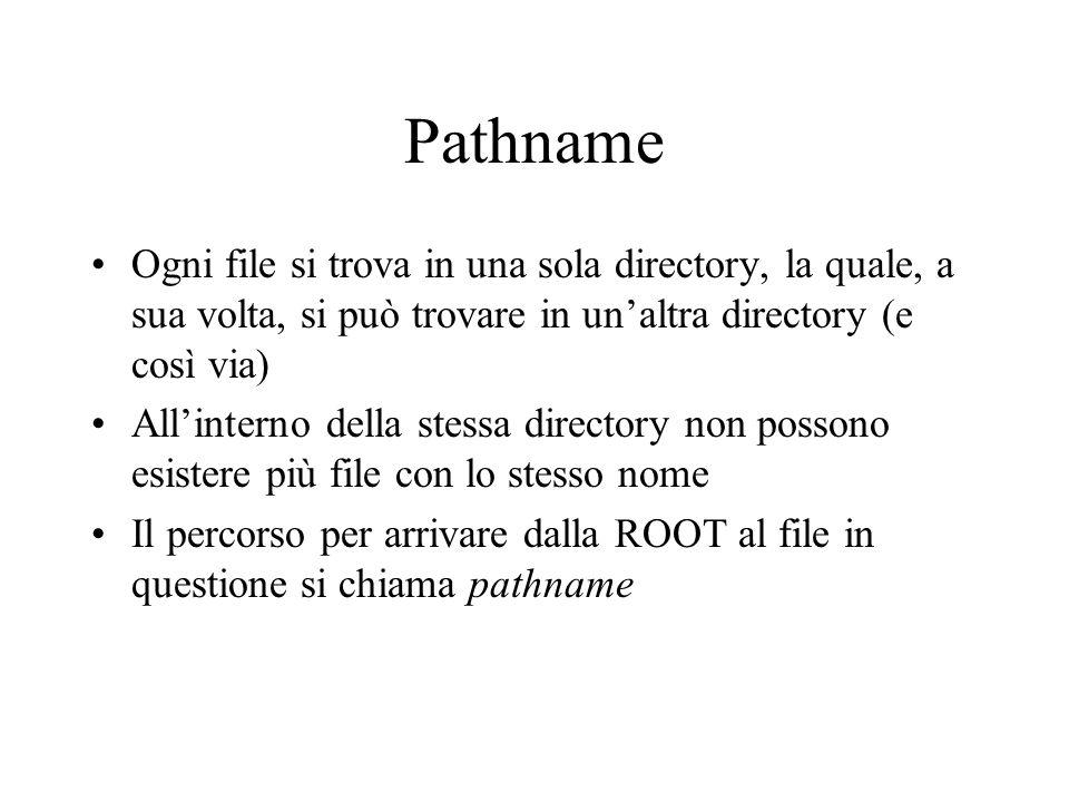Pathname Ogni file si trova in una sola directory, la quale, a sua volta, si può trovare in un'altra directory (e così via)