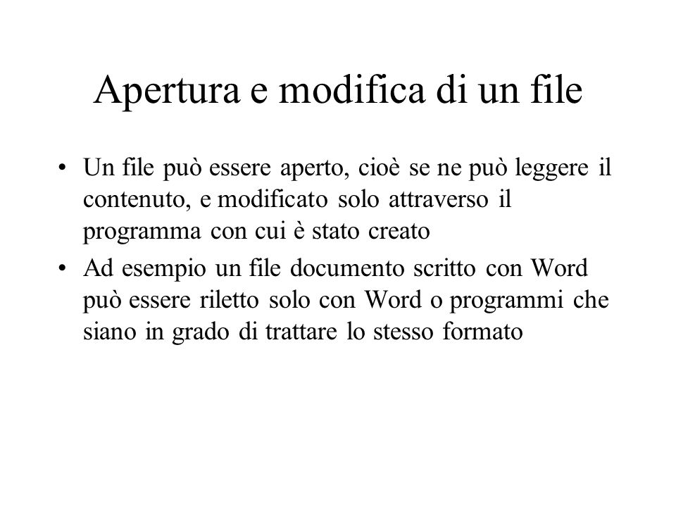 Apertura e modifica di un file