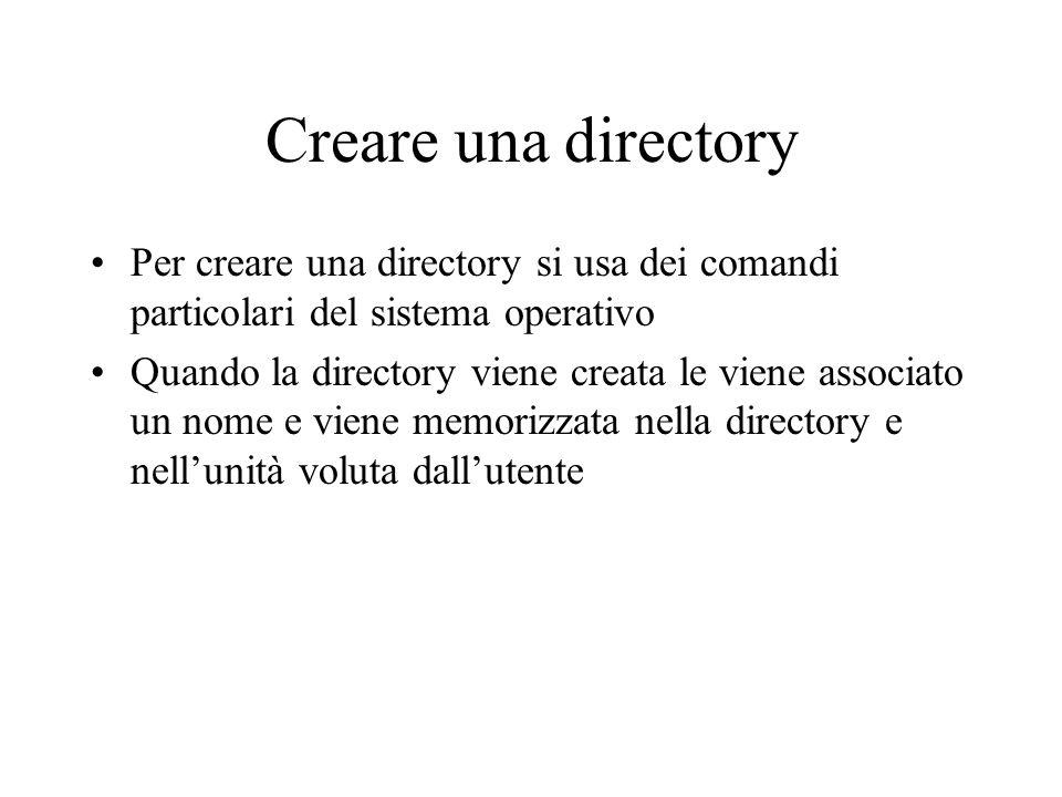 Creare una directory Per creare una directory si usa dei comandi particolari del sistema operativo.