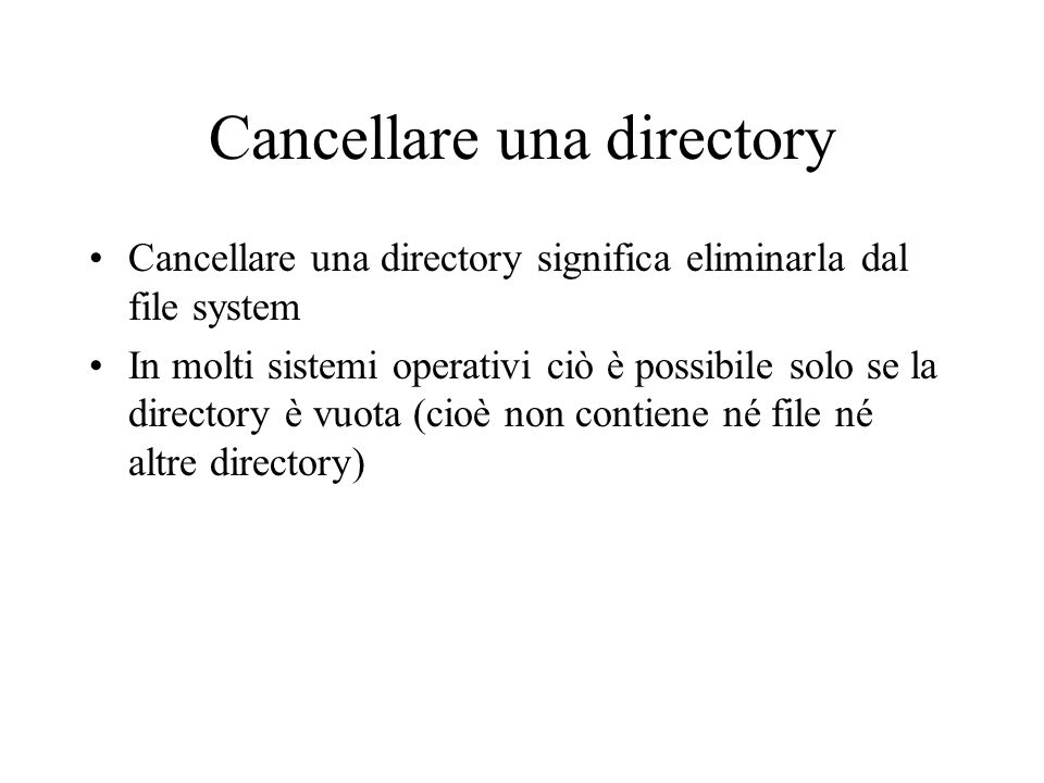 Cancellare una directory
